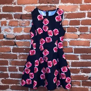 Navy skater dress with flowers